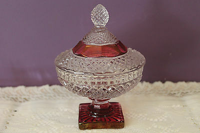 Vintage Westmoreland Ruby/cranberry English Hobnail Candy Dish With Lid