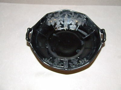 Vintage Floral Acid Etched 1950S Black Glass Small Handled Bowl