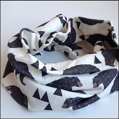 Baby Bear Pattern Ring Snood Scarf Shawl Toddler Scarves Neck Wraps Neckerchief