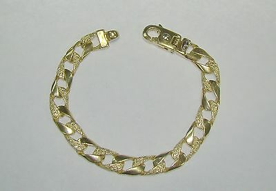 "Braccio 9mm 14k Yellow Gold 8"" Smooth & Textured Curb Link Bracelet- 29.03 Grams"