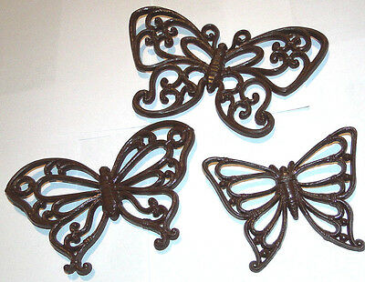 Vtg HOMCO Home Decor Brown butterfly wall hangings 3 piece set