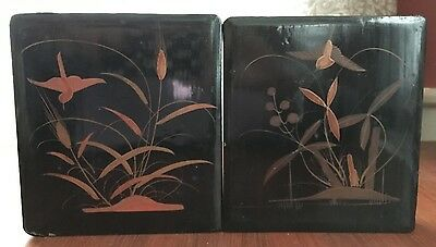 2 Antique Japanese Lacquered Lidded Boxes