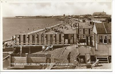 Vintage R/p Postcard 'the Beach From The Bathing Pool Littlehampton' West Sussex
