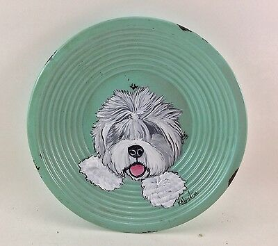 cute, footed metal plate with hand painted Old English Sheepdog LAST ONE!