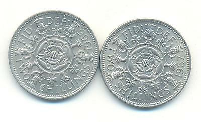 Very Nice Rare.british.2X.tow Shilling 1966 1967.unc..very Collectable.a.20