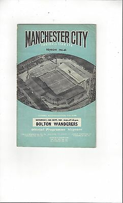 Manchester City v Bolton Wanderers 1961/62 Football Programme