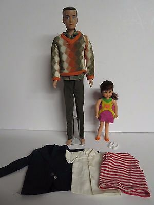 Lot of 2 Barbie Dolls Mattel KEN 1960 & TUTTI 1965 WITH CLOTHES & ONE STAND