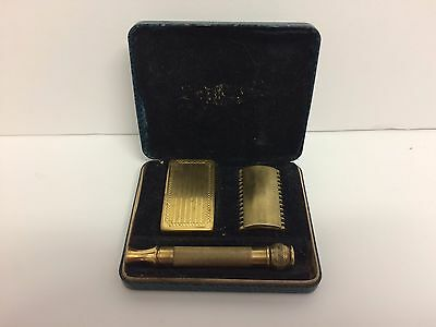Gillette Razor 1920s Old Type Unusual Representation WITH BLADES HOLDER CASE