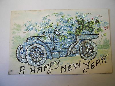 Old Postcard Vintage Car A Happy New Year
