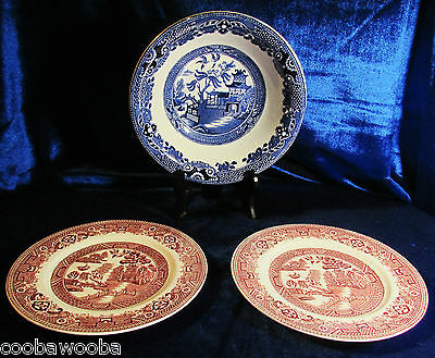"""1930 Meakin Blue Old Willow 2 Red Transferware Plates 6"""" & Burleigh Ware Bowl"""