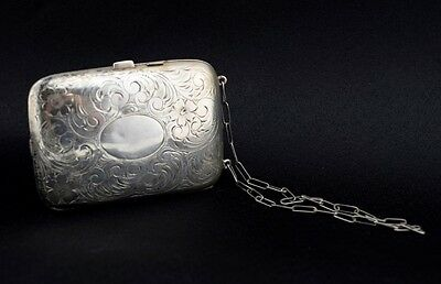 Antique Sterling Silver Dance Purse Picture Frame Pencil Mirror Coin Compact