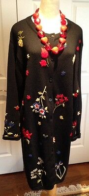 Lovely Ladies Black Embroidered Floral Long Sweater/Coat Plus Size 1X Bust 52""