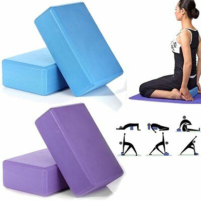 2x Yoga Block Foam Brick Exercise Fitness Stretching Aid Gym Pilates Blue/pGpMP