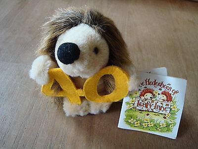 "NEW WITH TAGS VINTAGE SOFT TOY 40th HEDGEHOG 'LEAFY LANE' 1990'S APPROX. 4"" TALL"