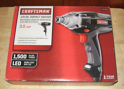 Craftsman 3 0 Amp 1 4 In Corded Impact Driver 934483 New