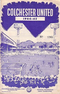 COLCHESTER v TORQUAY 1964/65 LEAGUE CUP
