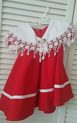 Vintage Toddler Baby Girl Red  Dress~Size 12-24 mths