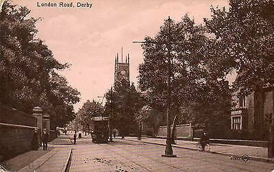"""""""london Road, Derby"""" Old Real Photo Postcard"""