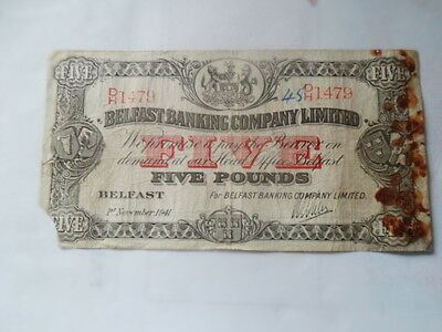 1941 Belfast Banking Company Limited very rare large £5 note