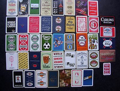 44 Different Alcohol Related Single Playing Cards.(36=New)