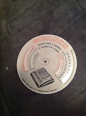 Rare Sumlock Ready Reckoner Metal Disk
