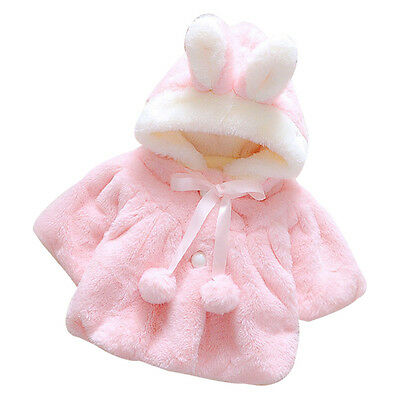 Baby Infant Girls Fur Winter Warm Coat Cloak Jacket Thick Warm Clothes 100