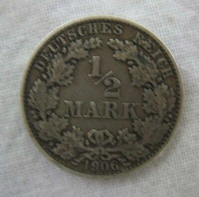 Silver 1906 Germany Empire 1/2 Mark Coin