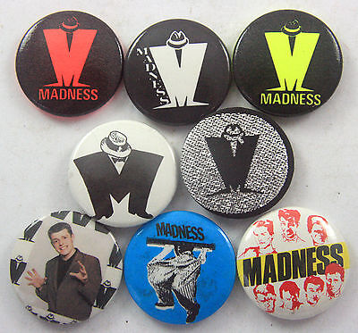 MADNESS Badges 8 x Vintage Madness Button Badges * SUGGS * BAGGY TROUSERS *