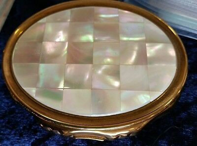 Stunning Vintage Kigu Mother Of Pearl Musical Powder Compact