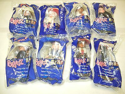 McDONALDS TOYS - 2002 - BRATZ DOLLS - FULL SET OF 8 - NEW IN PKG.
