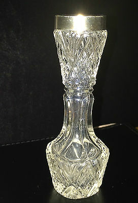 Antique Edwardian Cut Glass BUD VASE with SILVER RIM STERLING S&Co c1901