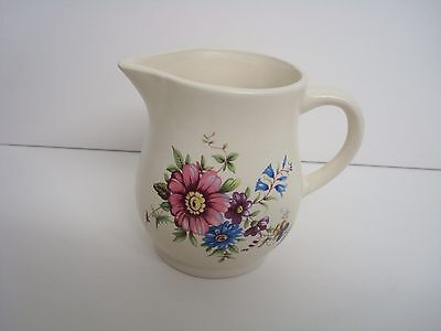 """Vintage Axe Vale Pottery Devon Floral Jug 1/4 Pt Approx 3.5"""" Tall"""