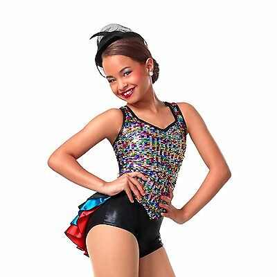 Girls Jazz Tap Dance Leotard Costume Black Multi Color Sequins Size CLA EUC