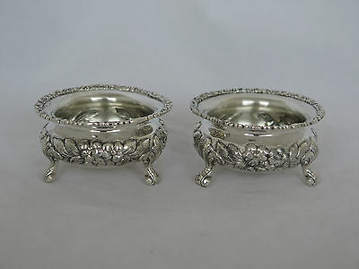Pair of 925/1000 Sterling Hand Chased Repousse Master Salt Cellars