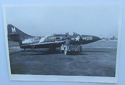 C.1950's Photo...military Aviation, U.s. Navy Fighter F9F Panther Jet,korean War