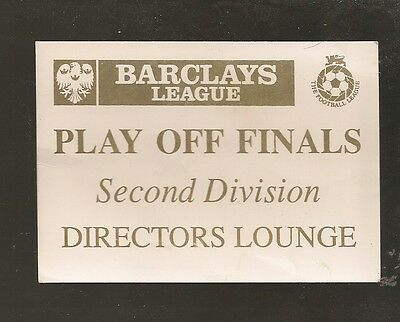 Barclays League  Play Off Finals Second Division Directors Lounge Ticket.