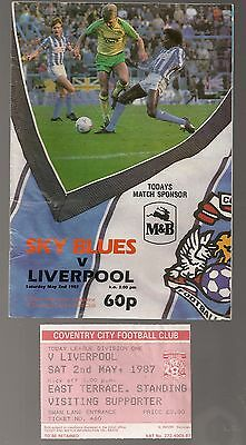 COVENTRY CITY  v  LIVERPOOL 1986 1987  PROGRAMME AND TICKET