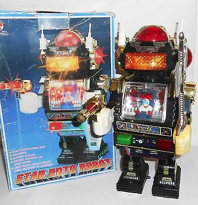 """1985 Star Roto Robot battery operated 12.5"""" working with box by Son AI Toys"""
