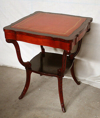 Antique Vintage Wood Wooden Leather Side End Accent Lamp Table Nightstand Stand