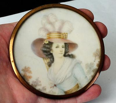 Large 19thC French Circular Portrait Miniature Of A Young Lady Signed VERNET
