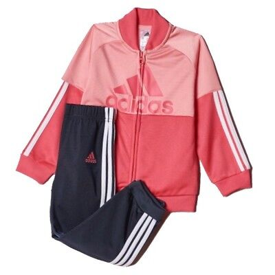Adidas Infant Baby Girls Tracksuit Pink & Navy