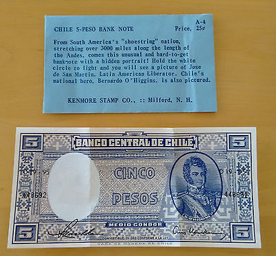 Chile 5 Pesos Folded but Uncirculated Banknote 1950s or 1960s