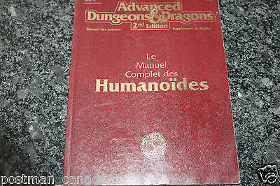 AD&D 2nd Edition Complete Book of Humanoids Advanced Dungeons & Dragons French