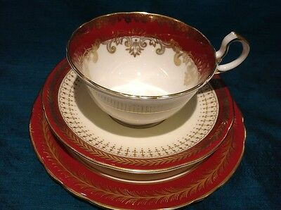 Aynsley English Bone China Maroon/Gold Trio ~ Cup, Saucer & Side Plate