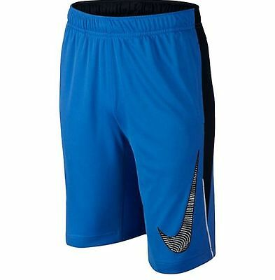 NWT Nike Dri-Fit Legacy Graphic Boy's Training Shorts Blue/Black