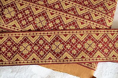 """15.47_YDS_ANTIQUE_FRENCH_TAPESTRY_TRIM_RIBBON_3""""_WIDE_MADE_IN_fRANCE"""