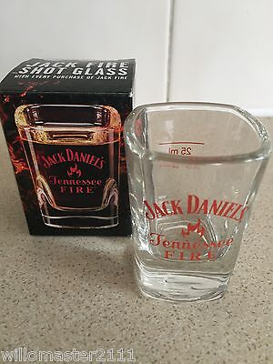 Rare Jack Daniels Tennessee Fire Shot Glass Uk Edition  In Box