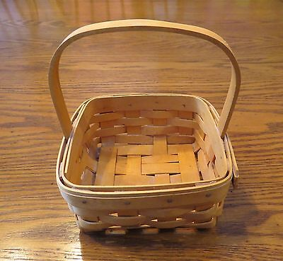 """Longaberger Basket 5 1/2"""" Square with Handle Dated 2001 & Signed"""
