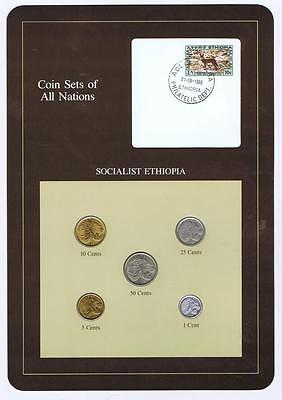 Socialist Ethiopia 5 pc Mint Set BU Coin Sets of All Nations stamp