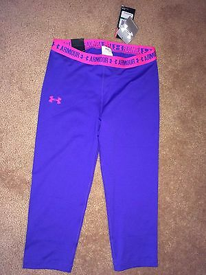 Under Armour Heatgear Fitted Upf 30+ Purple / Pink Capri Pants Ylg . Nwt